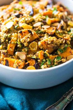 Grilled Sweet Potato Salad with Curry Almond Butter Vinaigrette - Grilled sweet potatoes, cauliflower rice and creamy almond butter make this a healthy, Paleo & Vegan-friendly side dish for the Summer!   Foodfaithfitness.com   @FoodFaithFit
