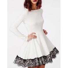 Stylish Slash Neck Long Sleeve Lace Spliced Dress For Women - WHITE L