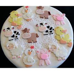 Farm Animals Cupcake Toppers, Farm Birthday Decoration, Boys Farm Baby Shower, Cute Baby Animals Farm, Farm First Birthday, Farm House Animals Cake Topper Baby Shower - Cake Toppers Boutique  - 3