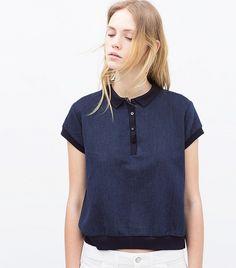 This Zara style crosses the smart/ casual divide effortlessly Indigo polo shirt, Zara Look Casual Chic, Camisa Polo, Indigo, Polo Shirt Outfits, Image Fashion, Polo Fashion, Dark Blue Skinny Jeans, Spring Shirts, Striped Polo Shirt