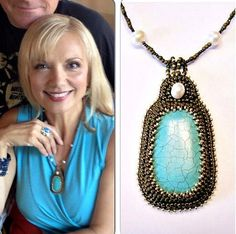 As Seen On Teryl Rothery Turquoise, Bronze, Gold And White Freshwater Pearl Bead Embroidered Necklace