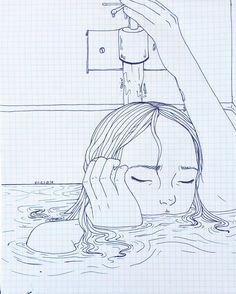 "4.29.16 ""Let the water rise"" - Daughter, Shallows Full view  #art#artwork#freehand#artofinstagram#artworks_artist#drawingoftheday#drawing#sketch#sketchbook#doodle#ink#lineart#water#sinking#tumblr#ebriosity#elesq#ellianaesquivel#um#daughter#shallows  Photo ref: http://yua.tumblr.com/post/143349784071/nimura-sawa-by-toshiaki-kitaoka"