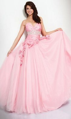 A ball gown for prom or formals with a detailed strapless bodice
