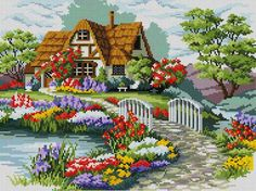 This Pin was discovered by Neş Cross Stitch Fruit, Cross Stitch House, Cross Stitch Bird, Cross Stitch Flowers, Cross Stitch Charts, Cross Stitch Designs, Cross Stitching, Cross Stitch Patterns, Cross Stitch Kitchen