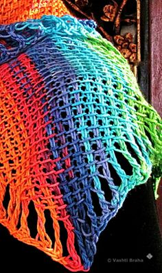 """Tunisian crochet that starts in one corner to make a rectangular scarf, or wrap.   """"Four Peaks Scarf on the Bias"""""""