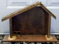 Handmade Wood Manger (to use with your nativity set) Nativity Stable, Nativity Creche, Rustic Wood Crafts, Small Fence, Building A Fence, Spanish Moss, Wood Dust, Tree Lighting, Small Trees