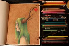 Color pencil speed drawing, Apple branch