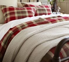 Saw this at the Pottery Barn store all set up and it was so pretty.  Jackson Plaid Duvet Cover & Sham | Pottery Barn