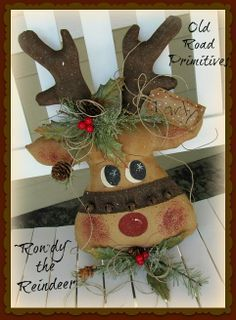 Rowdy the Reindeer Pattern-Reindeer Pattern,Christmas Pattern,Reindeer, Christmas, Old Road Primitives,Craft Pattern,