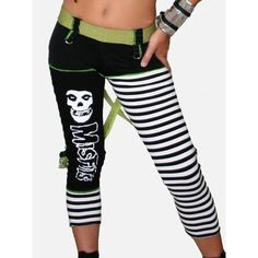 SALE SHITSVILLE CLOTHING DIY Misfits Pants Leggings Stripes Punk Rock... ($7.05) ❤ liked on Polyvore