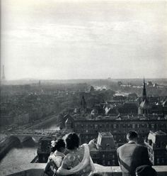 View from the top of the Notre-Dame cathedral. Paris, 1950's. Photograph by Janine Niepce