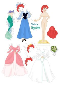 "Ariel Paper Dolls by Cory Jensen from Disney's ""Little Mermaid"""