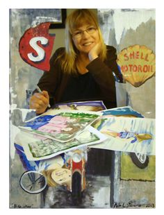 Here I am painting and creating works of art for illustrations for books. I used a creative process of my art and photography to create this image Rita Stevens.