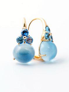 Pomellato 18k Gold Luna Blue Topaz Earrings at London Jewelers!