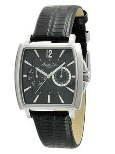 Men's Square Black & Stainless Steel Watch by Kenneth Cole Watches on Gilt.com