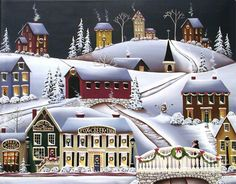 Christmas In Fox Creek Village Painting by Catherine Holman - Christmas In Fox Creek Village Fine Art Prints and Posters for Sale
