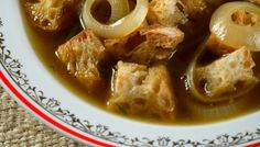 """Jacques Pépin's Bread and Onion Soup. """"When I have no vegetables on hand, I make this soup, which requires only onions and leftover bread. Grated Gruyère, one of my mother's favorite additions to the soup, is a great flavor enhancer."""""""