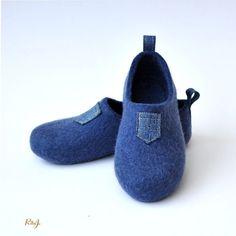 Felted slippers I like JEANS. от RitaJFelt на Etsy