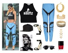 """""""STREET STYLE: Rihanna"""" by kmaryk ❤ liked on Polyvore featuring Flexfit, Ben-Amun, Tory Burch, Jennifer Lopez, Forever 21 and Butter London"""