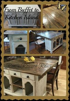 "Buffet Repurposed to Kitchen Island - Barn wood table top - General Finishes milk paint ""Linen"" and GF Van Dyke Brown glaze To see transformation go to Roni's Rescued Relics on Facebook"