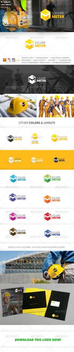 Square meter - construction company logo template