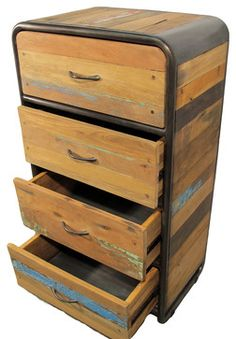 Boat Wood Dresser With 4 Drawers   Industrial   Dressers Chests And Bedroom  Armoires   Impact Imports