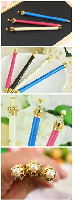 cute fun Office & School Supplies korea style stationery kawaii novelty items children princess crown pens of pearls for writing-inGel Pens from Office & School Supplies on Aliexpress.com