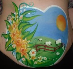 springtime daffodils pregnant belly painting
