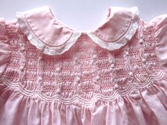 Vintage Smocked Pink Baby Dress with Embroidery by JeepersKeepers