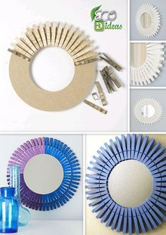 DIY drinking straw sunburst frame More Mais 18 Modern Mirror Ideas >> For More Modern Mirror Decor Ideas projects - Diy Projects Cool Amazing craft ideas to make with plastic drinking straws. Creative Crafts You Can Make Out Of Plastic Straws - Top D Wreath Crafts, Craft Stick Crafts, Diy Wreath, Wreaths, Diy Crafts For Home Decor, Diy Crafts Hacks, Diy Wall Decor, Wooden Clothespin Crafts, Wooden Clothespins