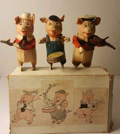 RARE 30s Schuco Germany Three Little Pigs, Wind-Up Tin Toys Near Mint Condition. #Schco