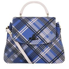 Vivienne Westwood Techno Tartan Bag ($300) ❤ liked on Polyvore featuring bags, handbags, shoulder bags, blue handbags, cotton handbags, vivienne westwood handbags, plaid purse and vivienne westwood purse
