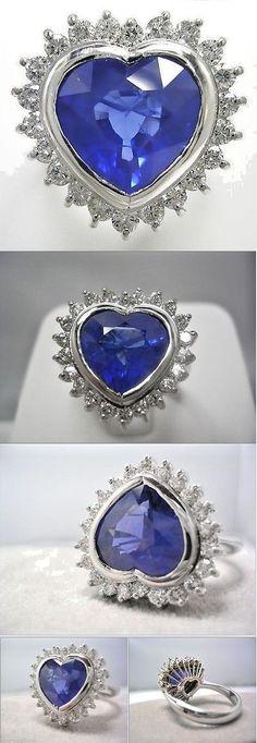 Rings 165044: 6.35 Ct Burmese Tgl Certificate Blue Sapphire Diamond Ring 18K White Gold -> BUY IT NOW ONLY: $34997 on eBay!