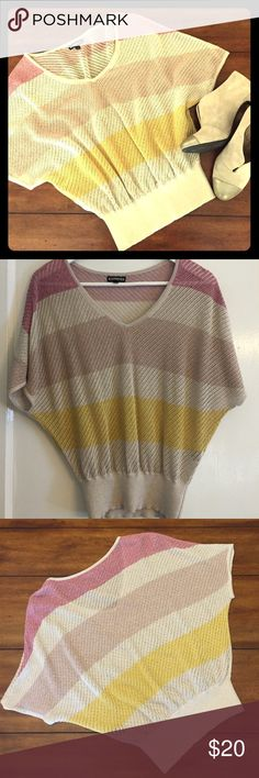Express Dolman Sweater Express short sleeve dolman sweater. Sweater is striped with shiny silver, rose gold and gold color tones. Size XS. Very flattering fit on any figure. Great condition! (Booties also available for purchase in my closet). Express Sweaters V-Necks