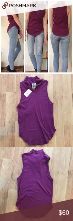 New Free People Plum High Neck Tank Top ⚜️I love receiving offers through the offer button!⚜️ Great condition, as seen in pictures! Fast same or next day shipping!📨 Open to offers but I don't negotiate in the comments so please use the offer button😊 Free People Tops Tank Tops