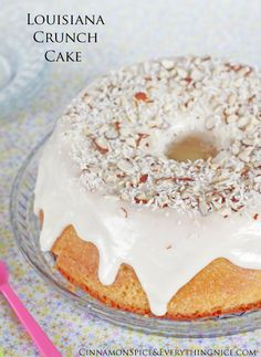 Louisiana Crunch Cake    Louisiana Crunch Cake is an Entenmann's knock-off, a copycat recipe from one of my favorite cakes growing up. You know, the cakes with their own display case at the end of the supermarket aisle?!