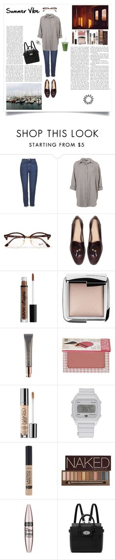 """""""Summer Vibe"""" by silly-stegosaurus ❤ liked on Polyvore featuring Topshop, Boutique, Ray-Ban, Zara, Hourglass Cosmetics, TheBalm, Urban Decay, adidas, Maybelline and Mulberry"""