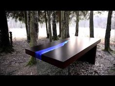 Kasparo I Amazing Table with resin and LED technology comes alive when a person enters the room - YouTube