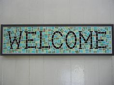 Mosaic Welcome sign in blues and greens on SALE by MosaicMarie, $110.00