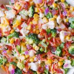 Creamy Broccoli, Cauliflower, Corn, Bacon Salad