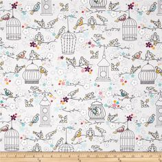 Rhapsody BOP Birdies Perched Multi from @fabricdotcom Designed by ADORNit Girls, this cotton print fabric is perfect for quilting, apparel and home decor accents. Colors include shades of yellow, orange, grey, turquoise, blue, red, purple, black, and white on an off-white background.