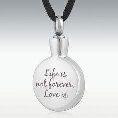 Love Is Forever Round Stainless Steel Cremation Jewelry