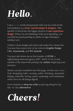 Dark-schemed One Pager for web designer, Eli Williamson, featuring a subtle molecule background header.