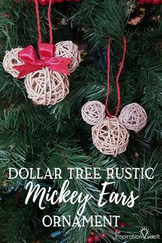 Dollar Tree Rustic Mickey Ears Ornament DIY Disney Craft Tutorial #mickeyears #disneycraft #disney #ornament #disneychristmas #hoddenmickey via @The Inspiration Vault | Craft/Party