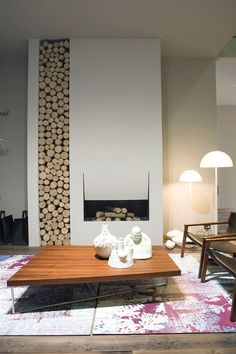 Love this modern fireplace