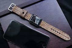 Maori Tatoo Engraving Custom Made Leather Strap incl. Lugs Adapter for Apple Watch (Steel,Alu,Space Gray) 42mm or 38mm