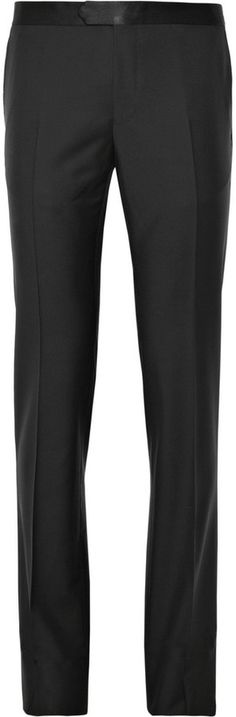 $690, Black Wool Dress Pants: Slim Fit Wool And Mohair Blend Tuxedo Trousers by Lanvin. Sold by MR PORTER. Click for more info: http://lookastic.com/men/shop_items/110502/redirect