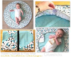 Travel Change & Play Mat: Big enough for baby to move around without rolling off during a diaper change. Storage all along the edges for extra diapers, a package of wipes and a change of clothes. It folds up nicely to fit into a diaper bag! kredinger59