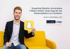 Snapchat Betalar Användare 1 Miljon Dollar Varje Dag för att Marknadsföra ny Funktion. #Snapchat #socialamedier #marknadsföringavsocialamedier #Snapchatfunktioner #digitalmarknadsföring #SpotLight #marknadsföringsstrategi #CodeLedge #vaxjo #växjö #växjökommun #vaxjokommun #vaxjocity #växjöcity #Sweden Snapchat, Spot Light, Social Media Marketing, Promotion, Coding, Doll, News, Puppet, Dolls