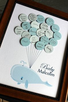 Baby Shower Guest Book - Whale with Balloons - Light striped background - Nautical Sea Theme  DIY make myself!